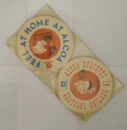 Image for Ephemera - a shrinkwrapped package of thick paper coasters with ALCOA advertising on them. Circl 1960's