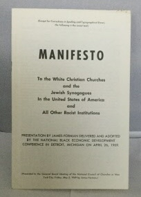 Image for Manifesto To The White Christian Churches And The Jewish Synogogues