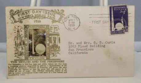 Image for First Day Issue Stamp And Letter From The 1939 World's Fair - The Trylon And The Perisphere