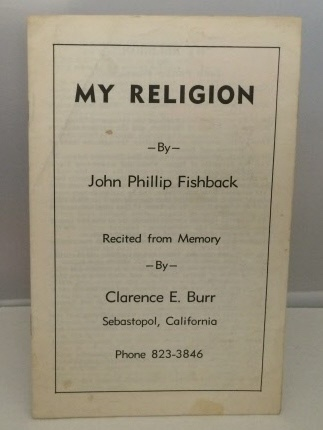 Image for My Religion Recited from Memory by Clarence E. Burr