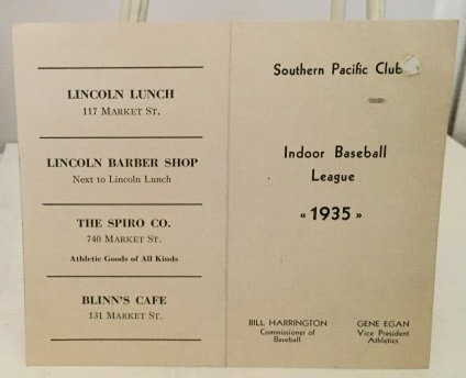 Image for Indoor Baseball League Schedule Card For The Southern Pacific (railroad) Club Indoor Baseball League Which Notate Dates For Games 1935