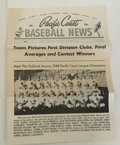 Image for Pacific Coast Baseball News October 10, 1948